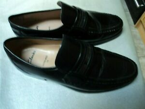 Clarks Black Leather Mens Extra Wide Slip On Loafer Shoes Size 10