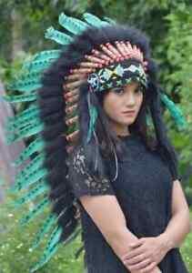 Headband Hat Feather Native American Warbonnet Green Inidan Headdress Handmade