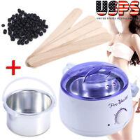 Pro Wax Kit Heater Pot Salon Waxing Hair Removal w/ 100g Brazilian Hot Wax Bean