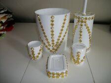5Pc White With Gold Trim Wastebasket Set
