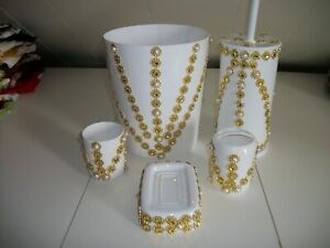5PC WHITE WITH GOLD TRIM WASTEBASKET SET
