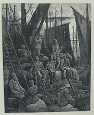 Doré-Londres; 'off Billingsgate' , antiguo original grabado en madera, C.1870