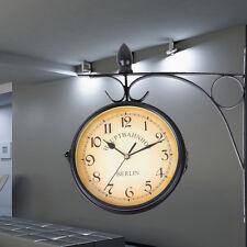 Zweiseitige Wanduhr Retro Look Grand Central Bahnhofsuhr Antik Stil Uhr Schwarz