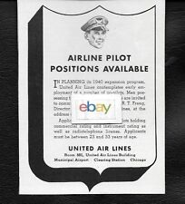 UNITED AIR LINES 1940 AIRLINE PILOT POSITIONS AVAILABLE FOR 1940'S EXPANSION AD