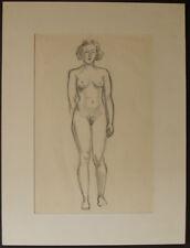 Original Pencil Drawing. Standing female nude. 1930.