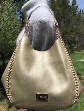 Bebe Colette Triple Entry Gold Metallic Chain Purse Shoulder Bag Tote $109