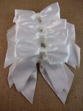 White satin bows set of 12 wedding decoration 4.5 inches wide bridal shower