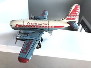 Vintage tin Linemar MARX Capital Airlines Stratocruiser airplane! as-is,