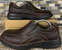 Clarks Men's Brown Leather Bicycle Toe Loafers Slip On Loafer 16732 Sz 7.5 M