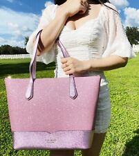 Kate Spade Lola Joeley Glitter Penny Large Top Zip Tote Handbag Rose Pink