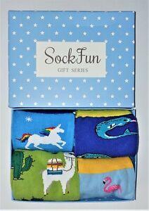 4 Pack Color Cotton Socks Funny Gift box unicorn, flamingo, shark, camel. New!