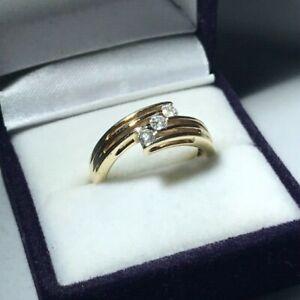 9ct Yellow Gold 3 Stone Diamond Wrap Ring Size N Hallmarked
