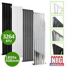 DESIGNER Flat Panel Radiator Tall Upright Central Heating Anthracite White Anthracite 1800x408mm - Single