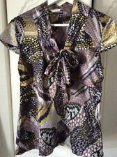 Ladies Next SP Satin Butterfly Print Blouse Tie Neck Size14 New