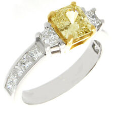 Fancy Yellow GIA Certified 2.25 CT Radiant Cut Diamond Engagement Ring 18k Gold
