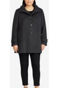 Ralph Lauren Plus Size Single-Breasted Coat - Charcoal - Size UK 2XL
