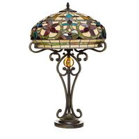"""Tiffany Style Ornate Floral Table Lamp 16"""" Shade"""