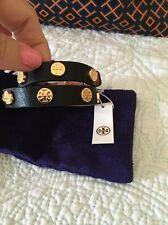 TORY BURCH  Double Wrap Logo Stud Black Leather Cuff Bracelet Reversible NWT