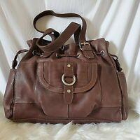 Fossil Brown Leather Shoulder Bag Tote Purse Drawstring Key Pockets