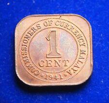 Malaya Straits Settlements 1 Cent 1941 i King George - High Grade