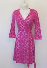 Diane von Furstenberg New Julian two mini Snake Check Pink 6 wrap dress DVF New