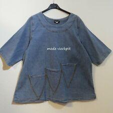 LA BASS Jeans Tunika Long Shirt + Dreieck-Taschen A-Linie stone washed 48-50 (1)