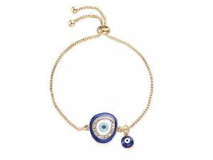 Blue white crystal greek Turkish evil eye gold adjustable bracelet