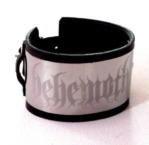 Behemoth Stainless Steel Black Leather Bracelet Wristband buckle adjustable