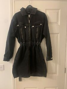 Topshop Black Washed Zip Front IDOL size 10 Denim Dress SOLD OUT MOTO zip Front