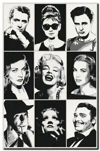 `Hollywood Legends' Marilyn Monroe, Audrey Hepburn Canvas Printed Framed Art