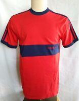Adidas Trefoil  Size M 80s Vintage Mens Short Sleeve Ringer Red Logo T Shirt