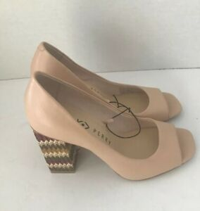 New Katy Perry The Catie Chunky Block Heels Open Peep Toe Nude Size 6