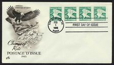 #2112 'D' Eagle-Strip of 4 w/ Plate #, Art Craft FDC **ANY 4=FREE SHIPPING**