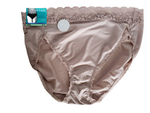 Vanity Fair Panties Hi Cut Bikini Beige Stripe Underwear Size 8XL Briefs NWT