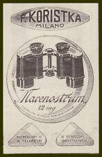 PUBBLICITA' 1918 BINOCOLO MARENOSTRUM  12 ING KORISTKA MARINA MILITARE MILANO