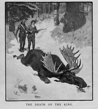 MOOSE HUNTING DEATH OF THE KING HUNTERS SHOOT MOOSE HUNT INDIAN SNOWSHOES FOREST