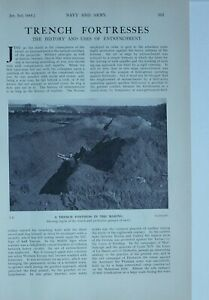 1914 WW1 ARTICLE & PICS TRENCH FORTRESSES BELGAIN SOLDIERS CONSTRUCTING TRENCH