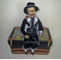 Primitives By Kathy - Halloween SKELETON PIRATE DOLL Display & Box - EXCEPTIONAL