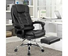 Executive PU Leather Home Office Desk High Back Padded Swivel Chair w/ Foot Rest