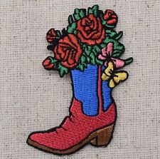 Western Cowboy Boot Red/Blue Rose/Flower - Iron on Applique/Embroidered Patch