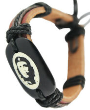"D1210 ""Che Guevara"" adjustable brown leather bracelet hemp Cuff chain charm"