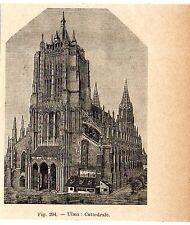 Stampa antica ULMA cattedrale gotica luterana Germania 1910 Old print Alte Stich