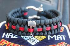 The EXTREME Firefighter / Fire Rescue Thin Red Line Paracord Survival Bracelet