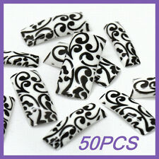50pcs White Back Black Leaf French False Nail Tips FN0010+1 Free Glue