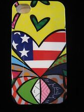 Abstract Hearts  Hard Cover Case 4 iPhone 4 4s Gen New American Flag / Yellow