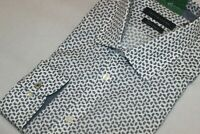 Tommy Hilfiger Men's 100% Cotton White Print Dress Shirt Slim Fit NWT Size 15-16