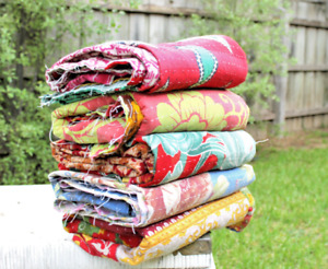 Vintage Hand Made Indian Kantha Quilt Bed Spread Throw Home Decor Boho Blanket