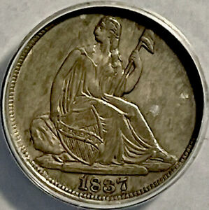 1837 Seated Liberty Half Dime 5c Anacs Certified AU50 Repunched Large Date