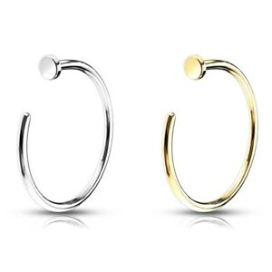 14KT GOLD NOSE RING HOOP PIERCING JEWELRY 20G-18G (WHITE OR YELLOW GOLD)