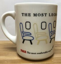 1993 TWA Trans World Airlines Coffee Cup Mug Disappearing Seats Most Legroom